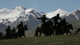 Chinese and Pakistani troops conduct terror exercises in the Pamirs. Pic courtsy Peoples Daily