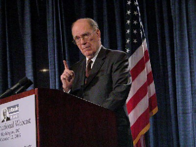 Photo:File photo shows Lyndon H. LaRouche, Jr. is making a speech in October, 2005, in Washington, US.