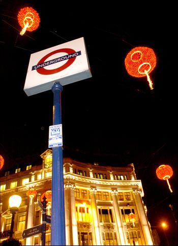Red lanterns are seen on oxford street in london capital of britain