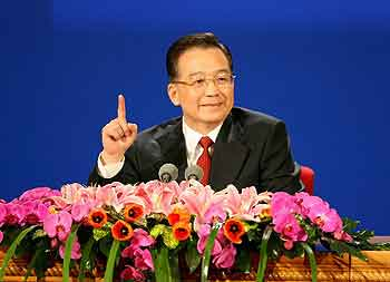 Photo:Chinese Premier Wen Jiabao meeting press