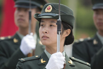 Training of the PLA's first female honor guard
