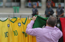 T-shirts of national soccer teams sold in Brazil