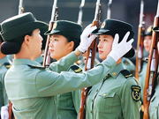 A glimpse of China's first female military honor guard