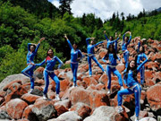 Chinese women's fitness team takes training in Bipenggou scenic zone