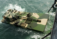 Amphibious armored vehicle unit conducts open sea drill