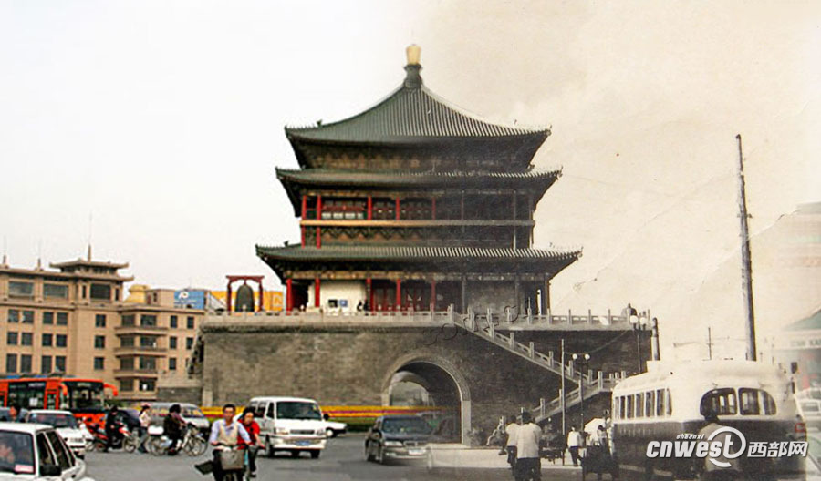 Bell Tower at present and in the past. The Bell Tower in Xi'an was built in 1384 during the early Ming Dynasty. Located at the center of the city, it is a symbol of Xi'an and one of the grandest of its kind in China. (Cnwest/Li Gaofeng)