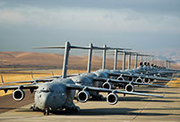 U.S. air force transport planes row up on base