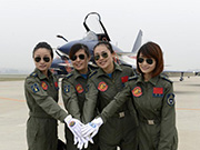 China's first group of female fighter jet pilots appears at 2014 Airshow China
