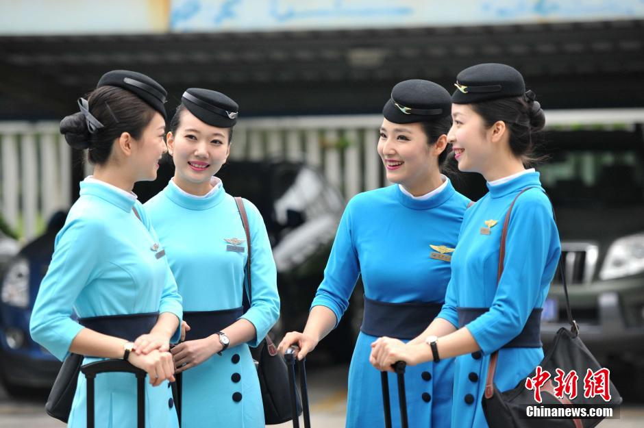Flight Attendants Of Xiamen Airlines In New Uniforms