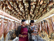 Homemade cured hams in SW China