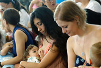 Mums stage breastfeeding flash mob
