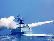 The striking moments of Chinese battleship firing