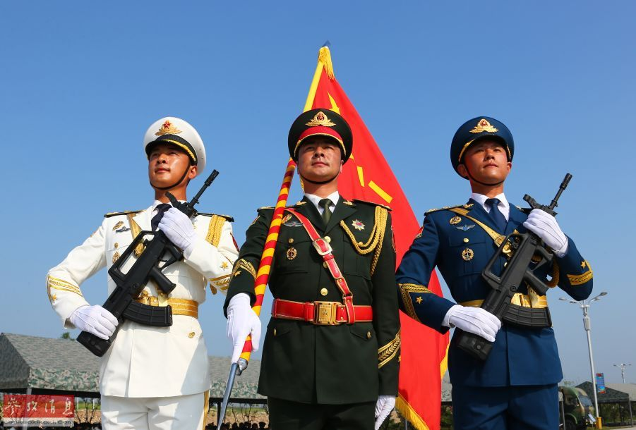 Chinese solders train for V-Day military parade