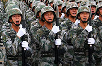 Chinese soldiers participate in training for V-Day parade