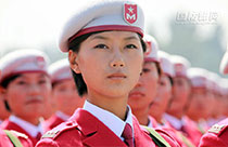Female soldiers at military parades