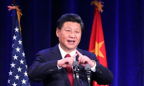 Chinese President Xi Jinping delivers a speech during a welcome banquet jointly hosted by Washington State government and friendly communities in Seattle, the United States, Sept. 22, 2015. Xi arrived in this east Pacific coast city on Tuesday morning for his first state visit to the U.S. (Xinhua/Liu Weibing)