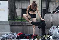 Models change clothes on street in Hangzhou
