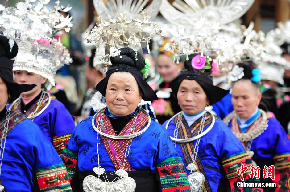 Married women of Miao ethnic group return home for New Year