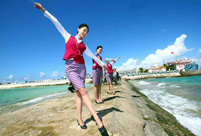 Chinese stewardess celebrate test flight at Nansha Islands