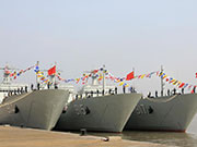 Three new-type tank landing ships join the East China Sea Fleet