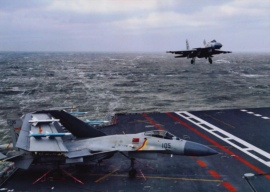 J-15 fighters in drill on Chinese aircraft carrier