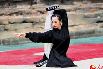 Enthusiasts perform Kung Fu at Wudang Mountain