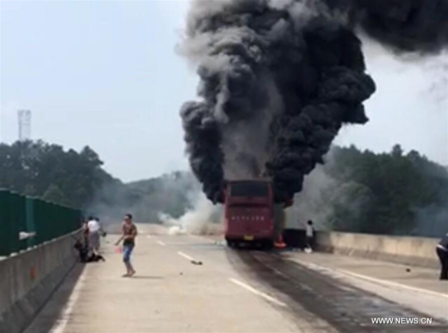 30 dead in central China bus fire