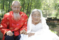 Centenarian couple takes first wedding photos