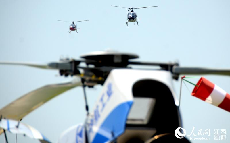 Chinese-made helicopters fly into the sky