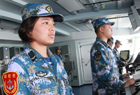 Female soldiers on Frigate Jingzhou