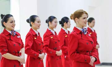 Foreign teachers apply to become flight attendants in Chengdu
