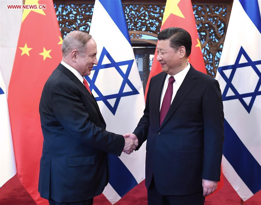 Chinese President Xi Jinping (R) meets with Israeli Prime Minister Benjamin Netanyahu in Beijing, capital of China, March 21, 2017. (Xinhua/Rao Ainmin)