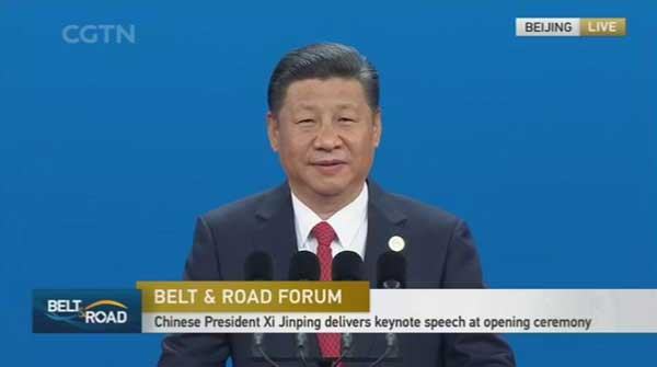 Chinese President Xi Jinping gives speech at B&R Forum