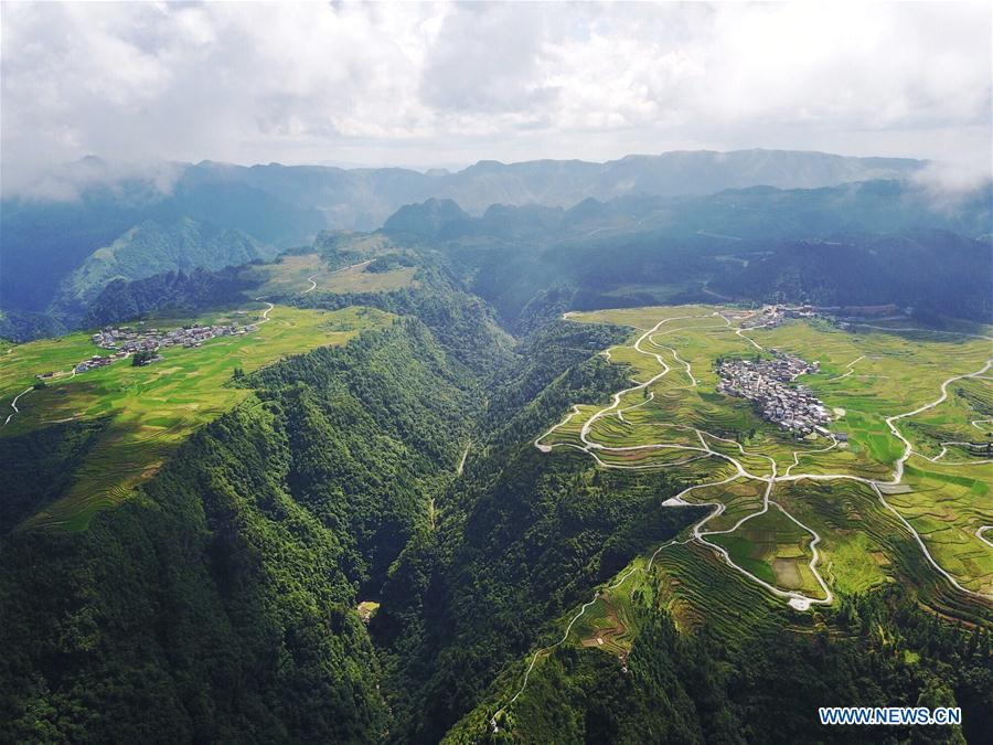 Bird's-eye view of farmland and villages in SW China's Guizhou