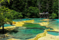 Multi-colored ponds in Sichuan