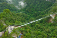 Skywalk made of glass opens in Guizhou's Yuntaishan