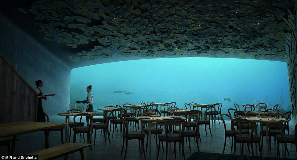 Europe's first underwater restaurant revealed: Eatery inside stunning half-sunken monolith will offer diners a view of the seabed through a 36ft-wide window