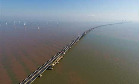 Aerial view of China's first offshore wind farm