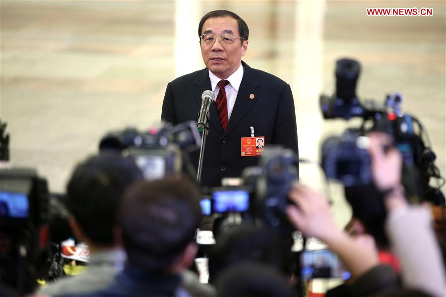 Ministers receive interview after opening meeting of first session of 13th NPC
