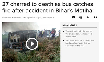 Bus mishap claims 27 lives in India