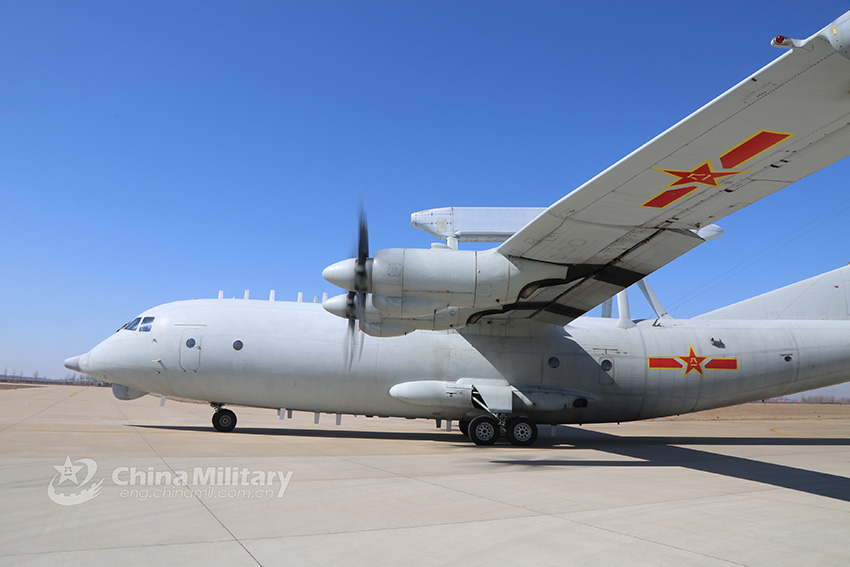 KJ-200 AEW aircraft take off for sortie