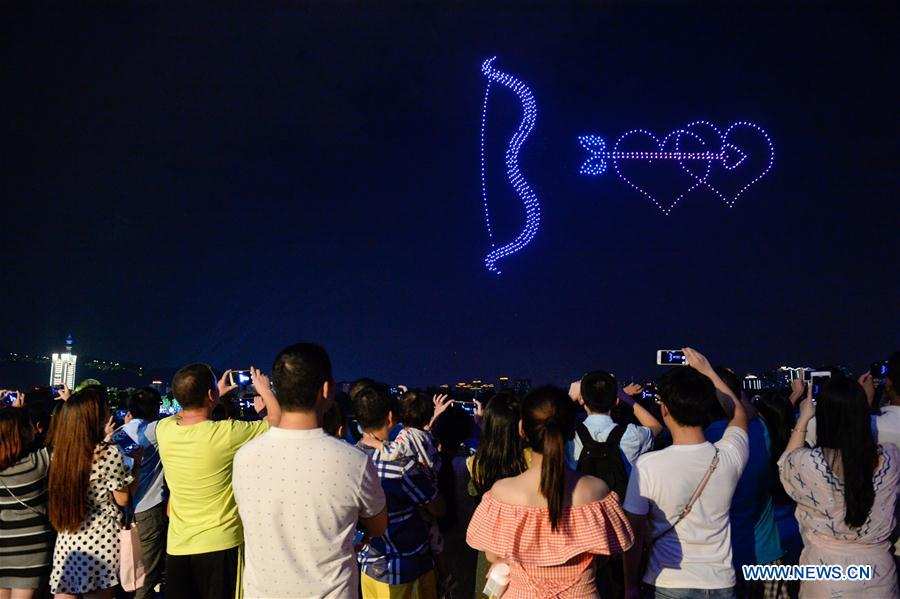 Drones perform light show to greet Qixi festival in Changsha, China's Hunan