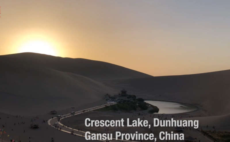Behold this stunning oasis at the edge of the Gobi Desert