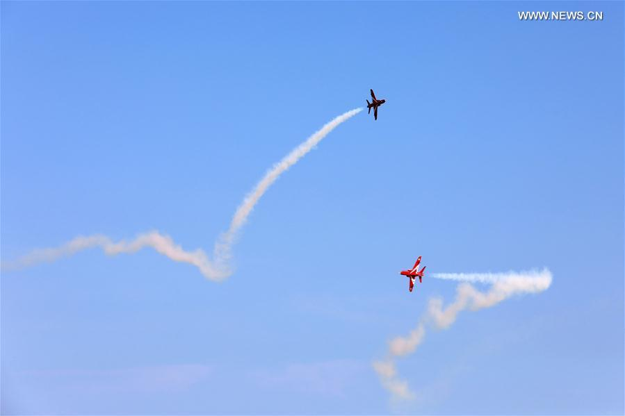 Model aircrafts with turbojet engines compete in air in China's Shandong