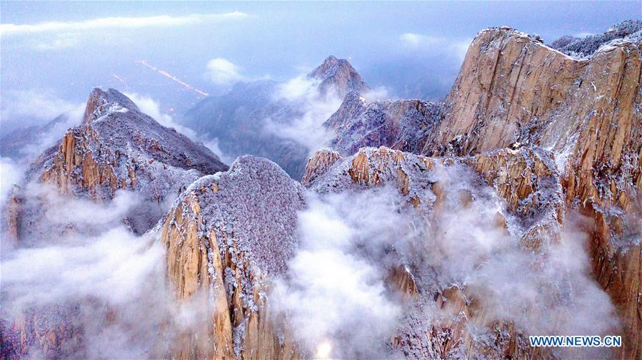 Snow scenery of Mount Huashan in NW China's Shaanxi