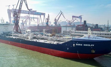 World's first icebreaking LNG tanker launched in Guangzhou