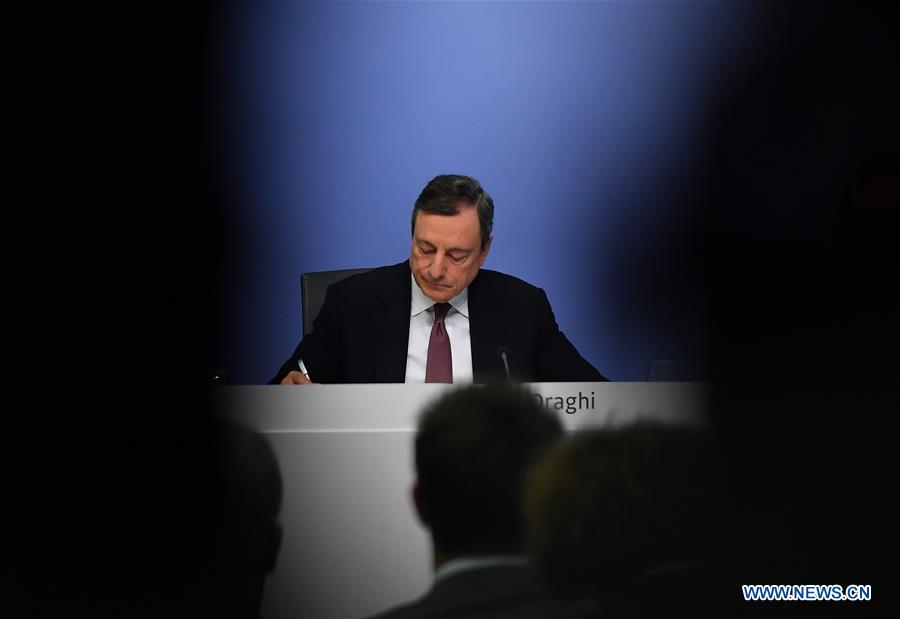 European Central Bank (ECB) President Mario Draghi attends a press conference at the ECB headquarters in Frankfurt, Germany, March 7, 2019. (Xinhua/Lu Yang)
