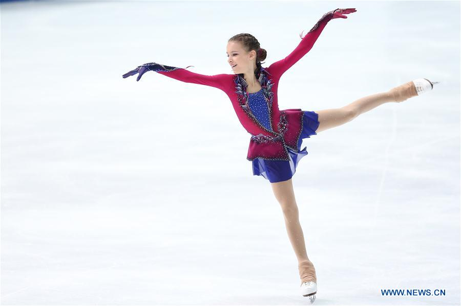 Anna Shcherbakova of Russia competes during the junior ladies free skating competition of International Skating Union World Junior Figure Skating Championships in Zagreb, Croatia, on March 9, 2019. (Xinhua/Luka Stanzl)