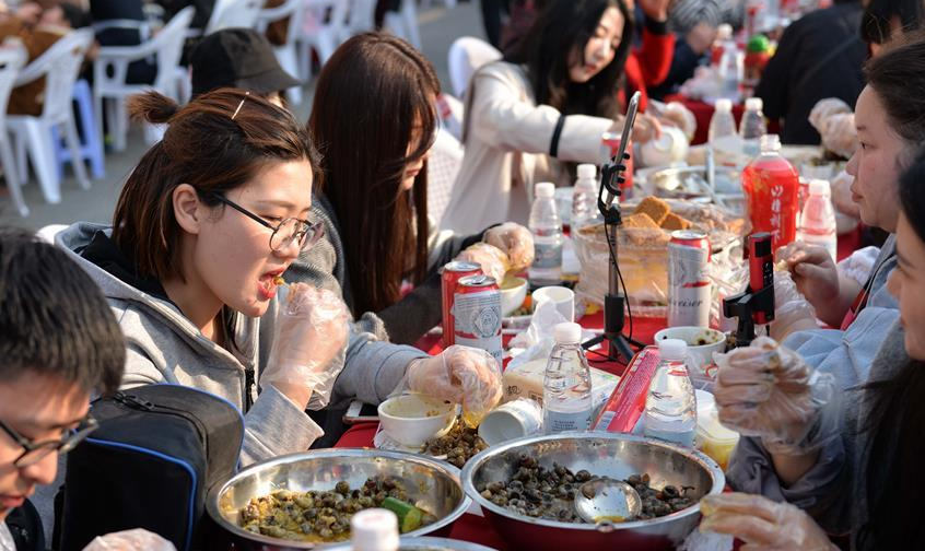 Dishes of Luosi served at feast in E China's Jiangsu