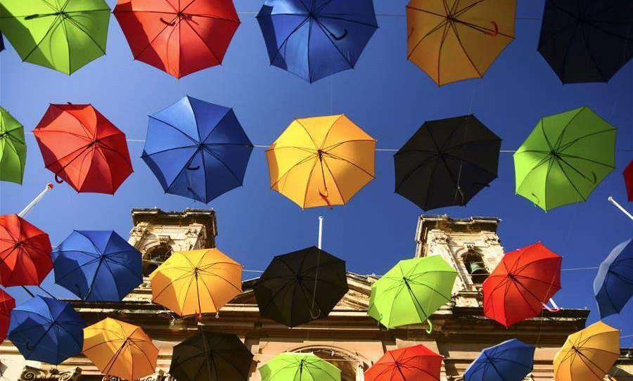"Scenery of ""Umbrella Street"" spectacle in Zabbar, Malta"